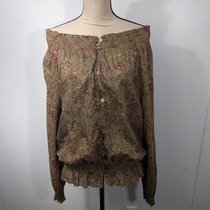 LRL Blouse Floral Button Up Smocked Top XL
